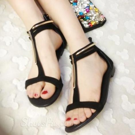 fa437d50e53ef0 Fashionable Black PU Metal Ankle Strap Flat Heel Sandals. sp3 · http   www. shoespie.com product 10911603.html